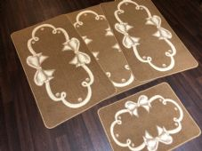 ROMANY GYPSY WASHABLES SET OF TOURER SIZE 67X120CM MATS/RUGS BISCUIT/CREAMS BOWS